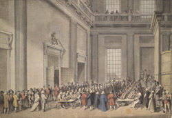 A drawn View of the Distribution of His Majesty's Maundy, by the Sub-Almoner in the Anti-Chapel at Whitehall
